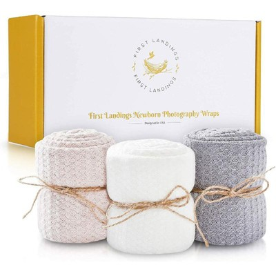 First Landings Newborn Photography Baby Wraps  - Set of 3