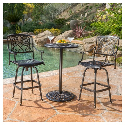 Santa Maria 3-piece Cast Aluminum Patio Bistro Bar Set - Copper - Christopher Knight Home