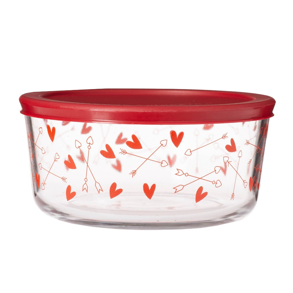 Image of Anchor 56oz Glass Hearts Print Food Storage Container Red, Red Clear