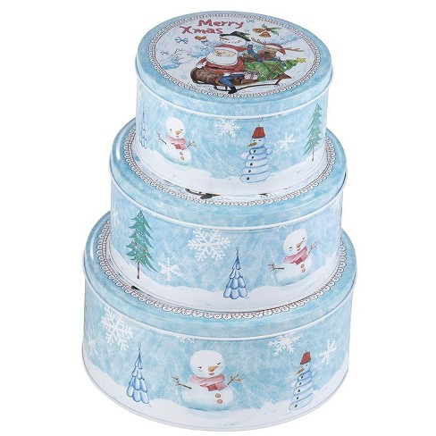 Juvale 3-Piece Round Christmas Cookie Tin Set, Nesting Baking and Cake Tin with Lid, Light Blue/White, 3 Assorted Sizes - image 1 of 4