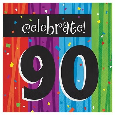16ct Milestone Celebrations 90th Birthday Napkins