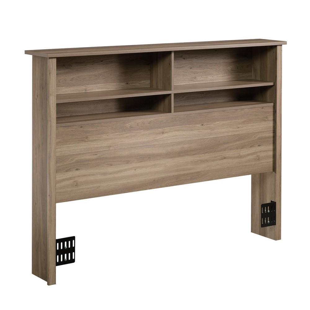 County Line Queen Bookcase Headboard Salt Oak Finish - Sauder