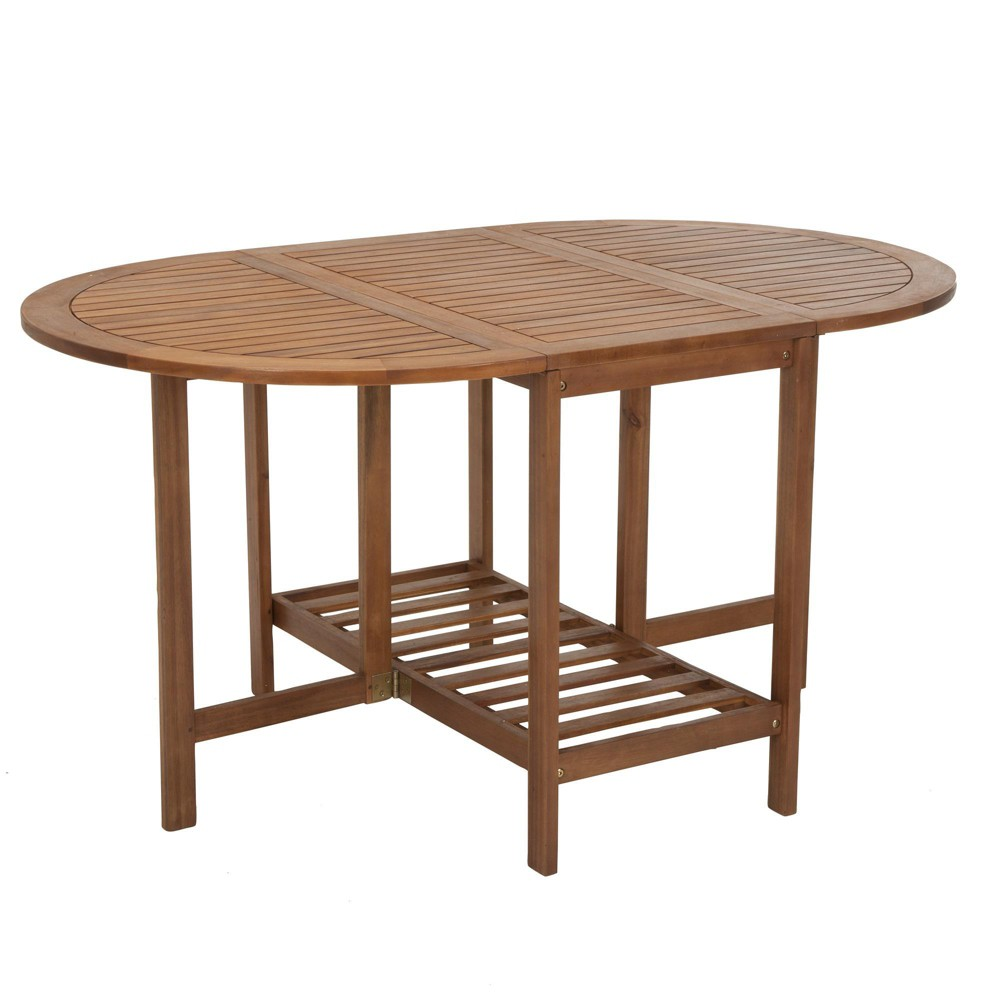 Acacia Wood Oval Folding Table - Brown - Cosco Outdoor Living