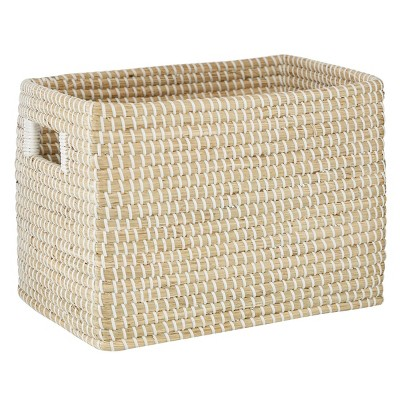 """Olivia & May 15""""x10"""" Rectangular Woven Seagrass Basket with Insert Handles Natural"""