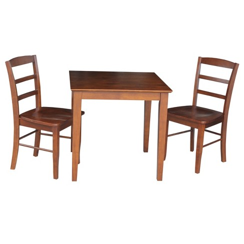 30' X 30' Set of 3 Dining Table with 2 Madrid Chairs Brown - International Concepts - image 1 of 4