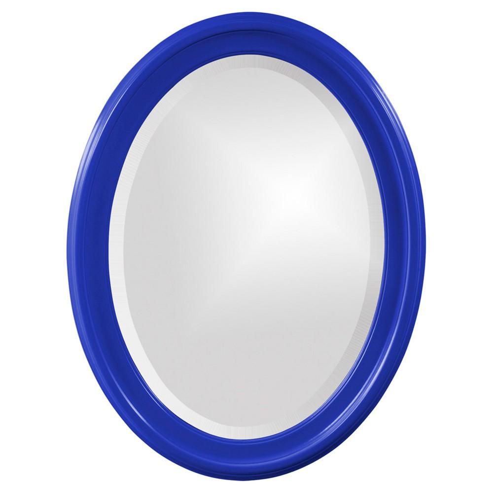 Image of Howard Elliott - George Glossy Royal Blue Oval Mirror, Blue Jay