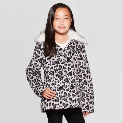 Girls'  Leopard Faux Fur Wool Jacket- Cat & Jack™ M