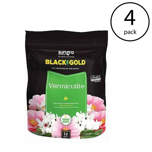 SunGro Black Gold All Purpose Natural and Organic Vermiculite Soil for House Plants, Vegetables, Herbs and More, 8 Quart Bag  (4 Pack) - image 1 of 1