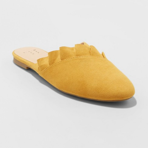 Women's Hal Ruffle Mules - A New Day™ Yellow - image 1 of 3