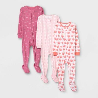 Baby Girls' 3pk Tie-Dye Basic Tight Fit Sleep N' Play - Cloud Island™ Pink 12M