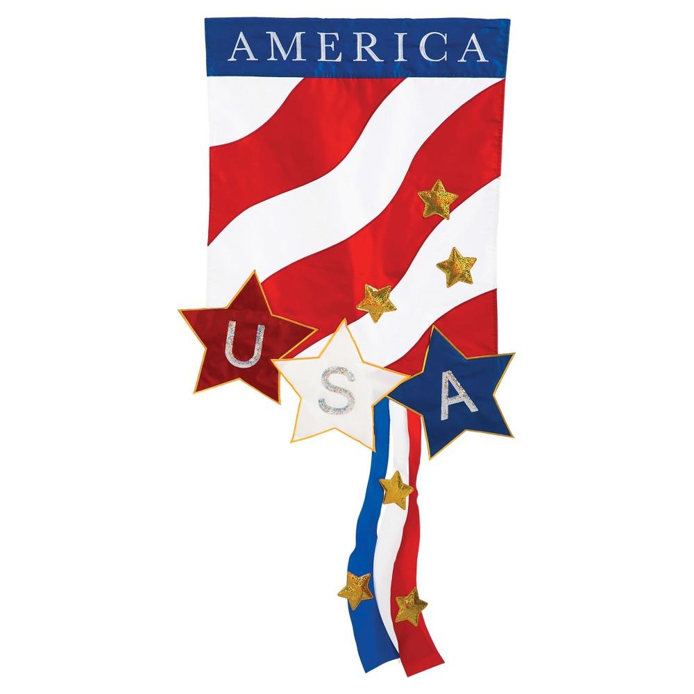 Garden Applique Patriotic America Flag, Red