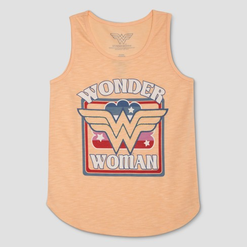 Girls Dc Comics Wonder Woman Retro Tank Top Pale Peach Target