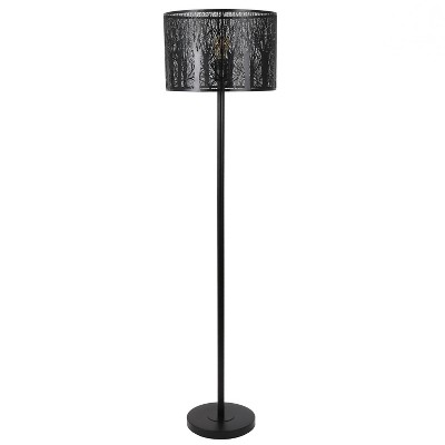 "58.5"" Edgar Floor Lamp with Patterned Shade Black - Decor Therapy"