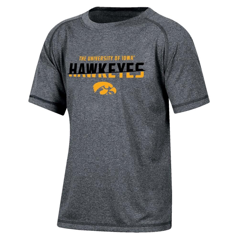 Iowa Hawkeyes Boys' Short Sleeve Crew Neck Raglan Performance T-Shirt - Gray Heather S, Multicolored