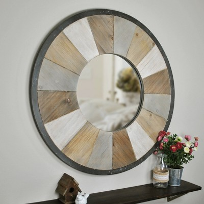 "31.5"" x 1"" x 31.5"" Adler Rustic Farmhouse Wood Mirror Natural Wood - FirsTime & Co."