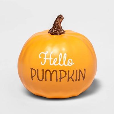 """Small """"Hello Pumpkin"""" Orange Decorative Harvest Pumpkin - Spritz™"""
