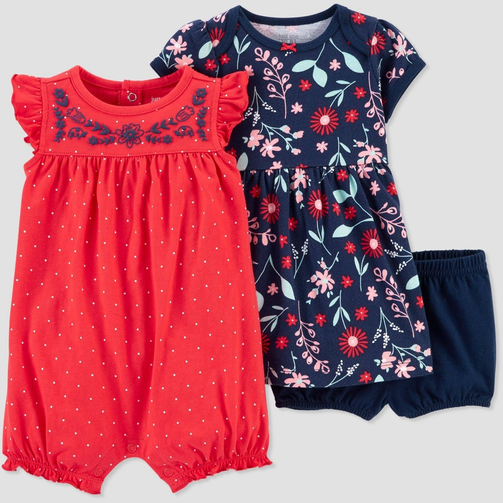 Image of Baby Girls' 2pk Poppy Floral Dress set - Just One You made by carter's Poppy Pink 3M, Girl's