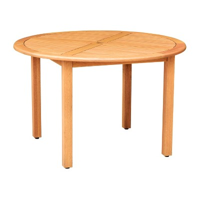 Ashley Patio Round Dining Table with Teak Finish - Brown - Amazonia