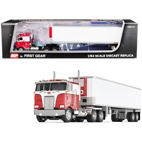 Peterbilt 352 COE Cab with 40' Vintage Thermo King Reefer Trailer Red and  White 1/64 Diecast Model by DCP/First Gear