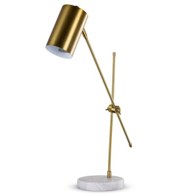 "23"" Metal Desk Lamp with Marble Base Bronze - Crystal Art Gallery"