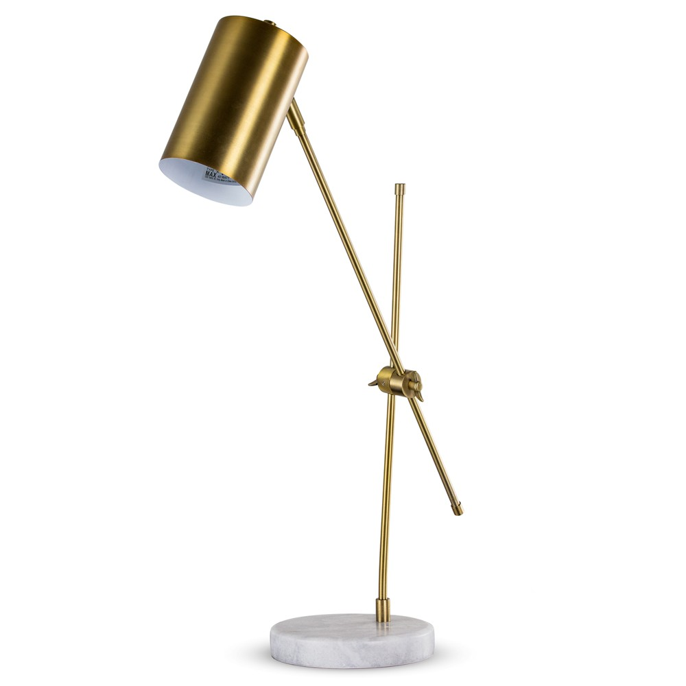 "Image of ""23"""" Bronze Metal Task Lamp with Marble Base (Includes Energy Efficient Light Bulb) - Crystal Art"""