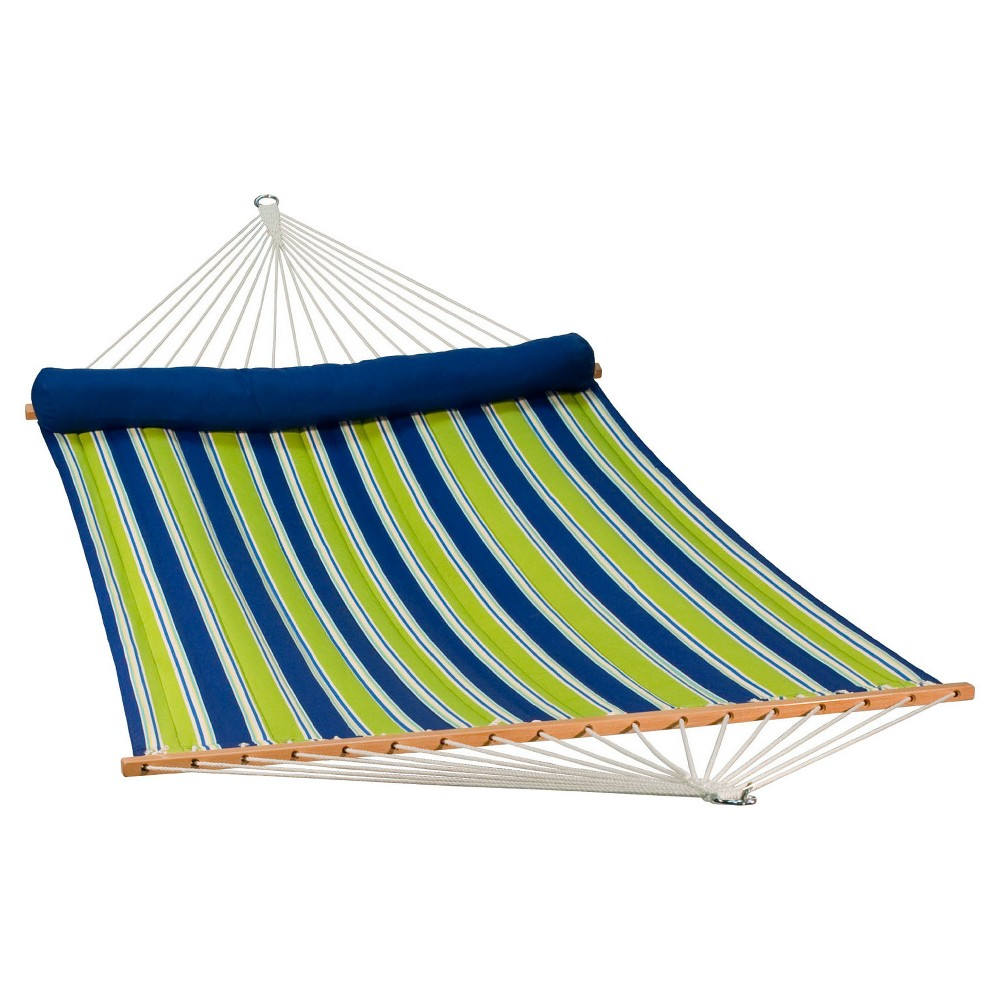 Image of Algoma 13' Reversible Quilted Hammock with Matching Pillow - Aarondace Ocean Stripe, Blue