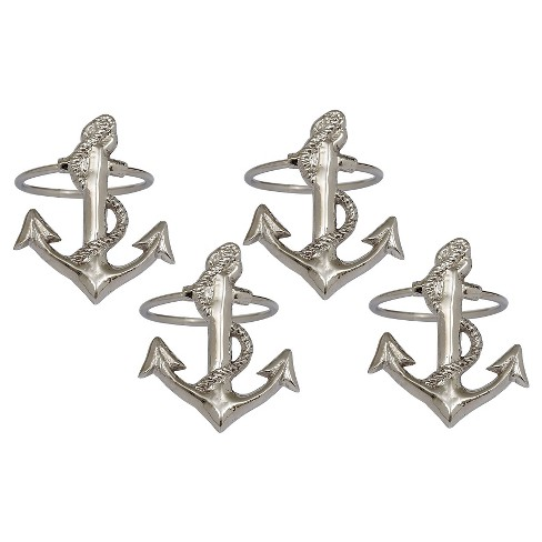Silver Anchor Napkin Ring (Set Of 4) - Design Imports - image 1 of 1
