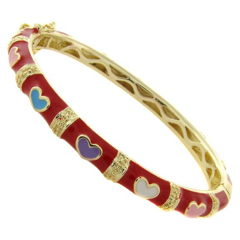 ELLEN 18k Gold Overlay Enamel Multi Colored Heart Design Bangle - Red - image 1 of 1