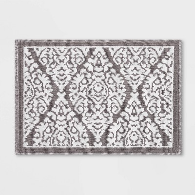 "30""x21"" Accent Bath Mat Ogee Gray - Threshold™"