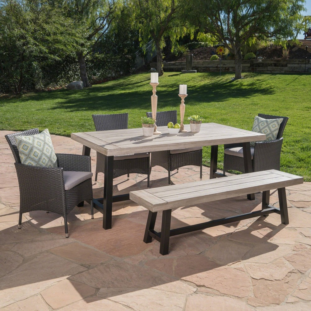 Linden 6pc Acacia Wood & Wicker Patio Dining Set - Gray - Christopher Knight Home
