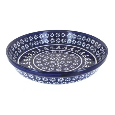 Blue Rose Polish Pottery Winter Nights Pie Plate
