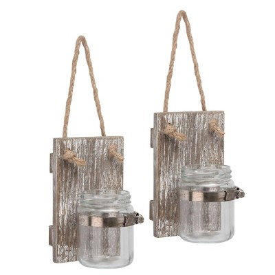 "Set of 2 3.3"" x 5.5"" Rustic Wooden Mason Jar Wall Sconce Set Worn White/Brown - Stonebriar Collection"