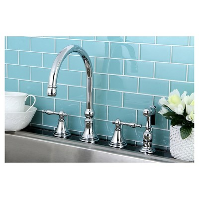 Chrome Widespead 4-Hole Solid Brass Kitchen Faucet - Kingston Brass