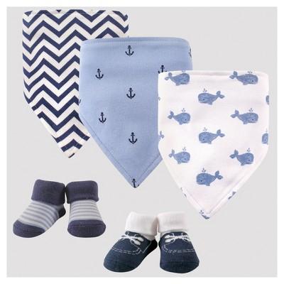 Hudson Baby Boys' 5pk Bandana Bib & Socks Set - Blue 0-12M