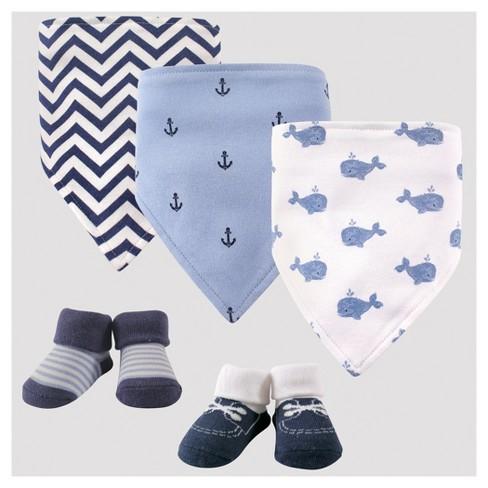 a69ba3d2d Hudson Baby Boys  5pk Bandana Bib   Socks Set - Blue 0-12M   Target