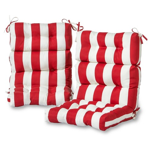 Set of 2 Outdoor High Back Chair Cushions - Cabana Stripe Red - Greendale Home Fashions - image 1 of 3