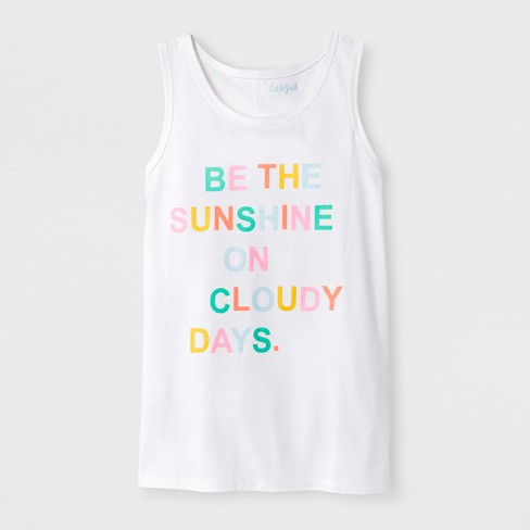 Girls' Be The Sunshine Graphic Tank Top - Cat & Jack™ White - image 1 of 1