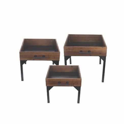 Wood Drawer Nesting Tables, Set of 3 - Foreside Home and Garden - image 1 of 2