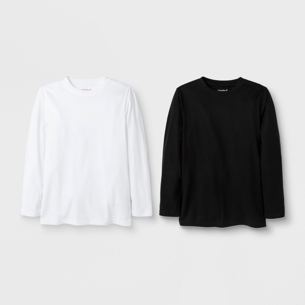 Image of Boys' 2pk Long Sleeve T-Shirt - Cat & Jack White/Black L, Boy's, Size: Large