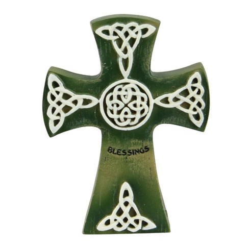 "Roman 4"" Irish Celtic Design with ""Blessings"" Inscription Cross Wall Decorations - Green/White - image 1 of 3"