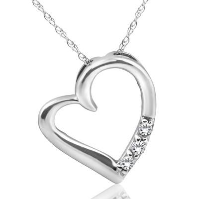 Pompeii3 Diamond Heart Pendant Necklace 3-Stone 10K White Gold