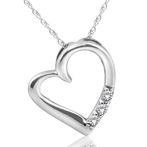Pompeii3 Diamond Heart Pendant Necklace 3-Stone 10K White Gold - image 1 of 4