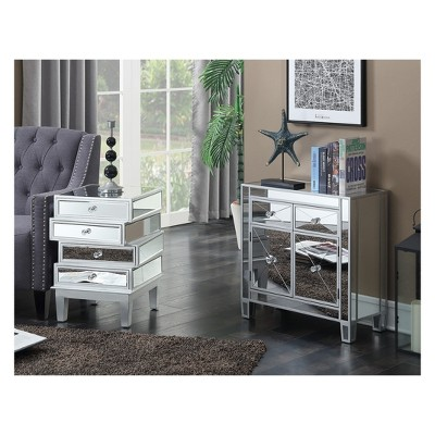 Gold Coast J Daniels End Table Silver/Mirror - Breighton Home : Target