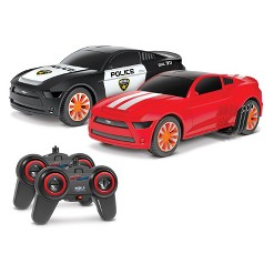 Ford Mustang Battle Pursuit Flip Action Remote Control RC Cars Double Pack - 1:20 Scale