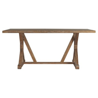 Camilla Farmhouse Concrete - Inlaid Trestle Dining Table - Vintage Pine - Inspire Q