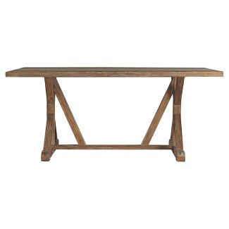Camilla Farmhouse Concrete - Inlaid Trestle Dining Table - Vintage Pine - Inspire Q