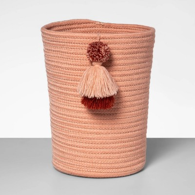 Coiled Rope Wastebasket with Tassels Peach - Opalhouse™