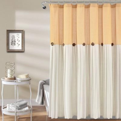 Linen Button Shower Curtain - Lush Décor