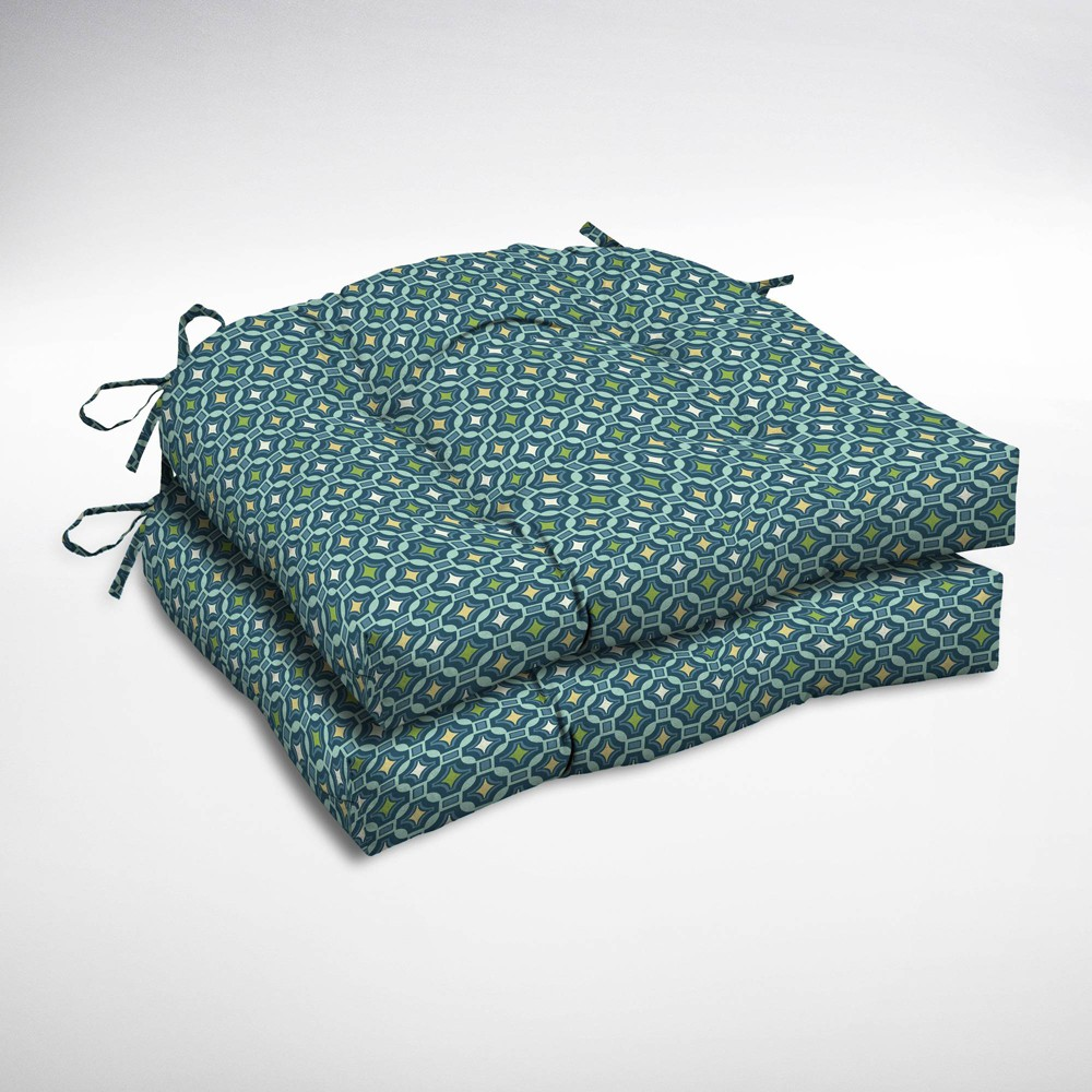Image of 2pk Alana Tile Wicker Chair Cushions - Arden Selections