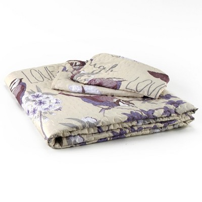 Lakeside Sentiment Accent Bedding Quilt Set with Pillowcases - 3 Pieces
